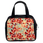 Modern Hipster Triangle Pattern Red Blue Beige Classic Handbags (2 Sides) Front