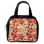 Modern Hipster Triangle Pattern Red Blue Beige Classic Handbags (2 Sides) Back