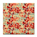 Modern Hipster Triangle Pattern Red Blue Beige Face Towel Front