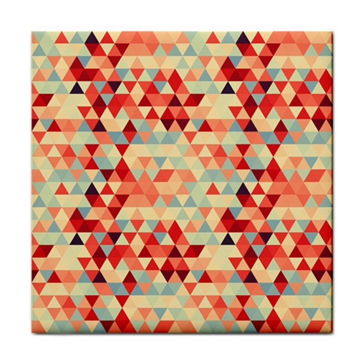 Modern Hipster Triangle Pattern Red Blue Beige Face Towel