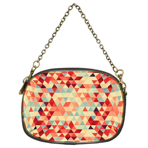 Modern Hipster Triangle Pattern Red Blue Beige Chain Purses (One Side)
