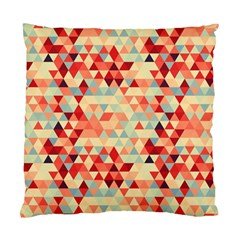 Modern Hipster Triangle Pattern Red Blue Beige Standard Cushion Case (One Side)