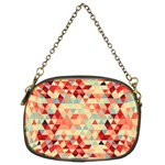 Modern Hipster Triangle Pattern Red Blue Beige Chain Purses (Two Sides)  Front