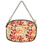 Modern Hipster Triangle Pattern Red Blue Beige Chain Purses (Two Sides)  Back