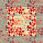 Modern Hipster Triangle Pattern Red Blue Beige Mini Canvas 4  x 4  4  x 4  x 0.875  Stretched Canvas