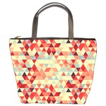 Modern Hipster Triangle Pattern Red Blue Beige Bucket Bags Front