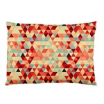 Modern Hipster Triangle Pattern Red Blue Beige Pillow Case 26.62 x18.9 Pillow Case