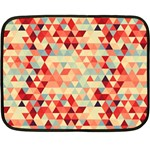 Modern Hipster Triangle Pattern Red Blue Beige Fleece Blanket (Mini) 35 x27 Blanket