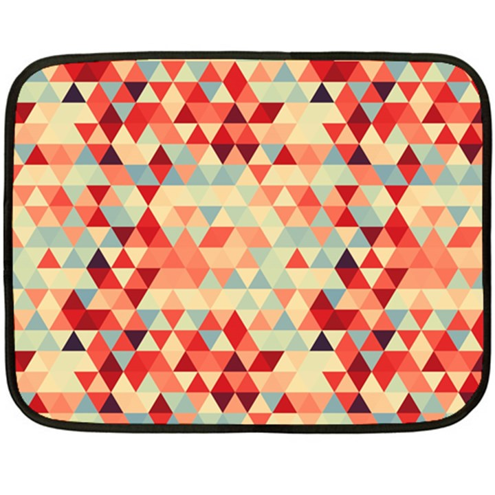 Modern Hipster Triangle Pattern Red Blue Beige Fleece Blanket (Mini)