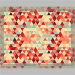 Modern Hipster Triangle Pattern Red Blue Beige Canvas 14  x 11  14  x 11  x 0.875  Stretched Canvas