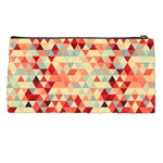 Modern Hipster Triangle Pattern Red Blue Beige Pencil Cases Back