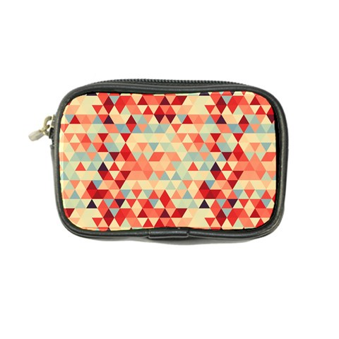 Modern Hipster Triangle Pattern Red Blue Beige Coin Purse