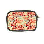 Modern Hipster Triangle Pattern Red Blue Beige Coin Purse Back