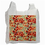 Modern Hipster Triangle Pattern Red Blue Beige Recycle Bag (One Side) Front