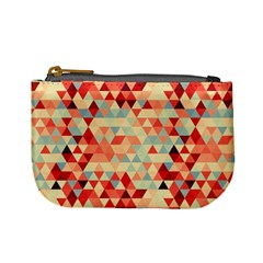 Modern Hipster Triangle Pattern Red Blue Beige Mini Coin Purses