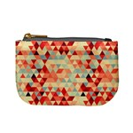 Modern Hipster Triangle Pattern Red Blue Beige Mini Coin Purses Front