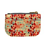 Modern Hipster Triangle Pattern Red Blue Beige Mini Coin Purses Back