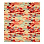 Modern Hipster Triangle Pattern Red Blue Beige Shower Curtain 66  x 72  (Large)  58.75 x64.8 Curtain