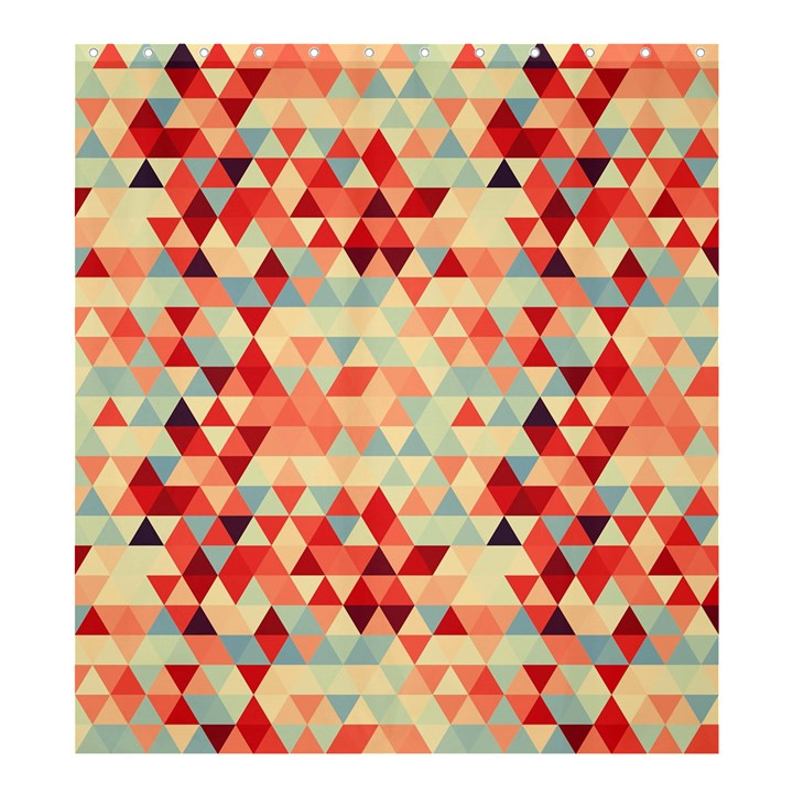 Modern Hipster Triangle Pattern Red Blue Beige Shower Curtain 66  x 72  (Large)