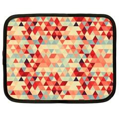 Modern Hipster Triangle Pattern Red Blue Beige Netbook Case (XL)