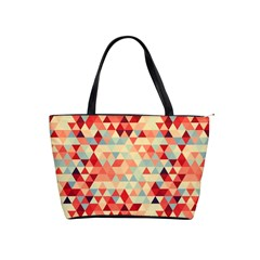 Modern Hipster Triangle Pattern Red Blue Beige Shoulder Handbags