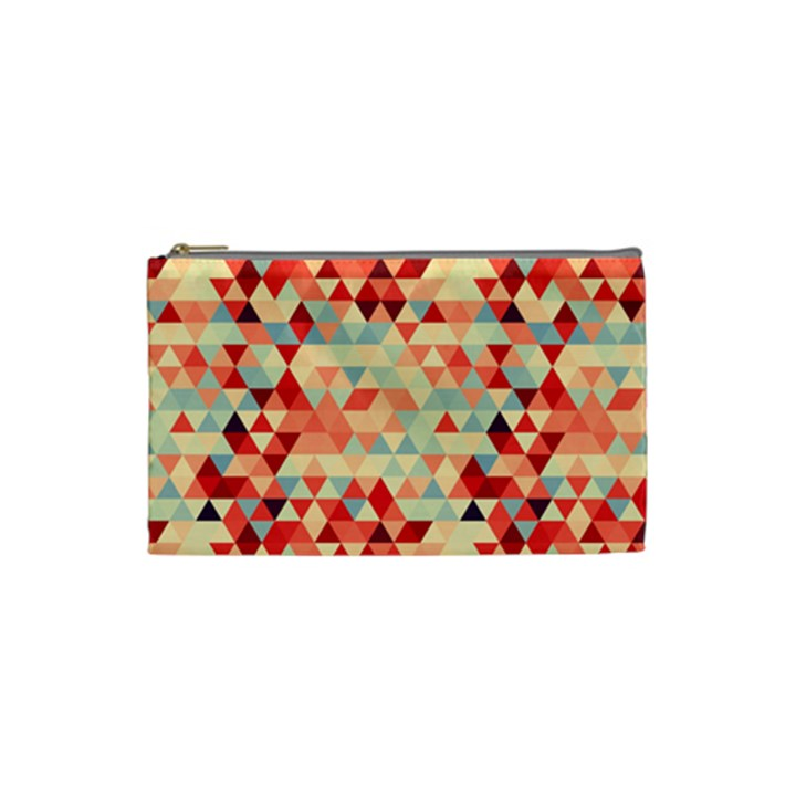 Modern Hipster Triangle Pattern Red Blue Beige Cosmetic Bag (Small)
