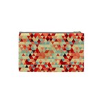 Modern Hipster Triangle Pattern Red Blue Beige Cosmetic Bag (Small)  Back