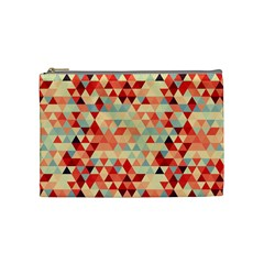 Modern Hipster Triangle Pattern Red Blue Beige Cosmetic Bag (Medium)