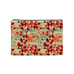 Modern Hipster Triangle Pattern Red Blue Beige Cosmetic Bag (Medium)  Front