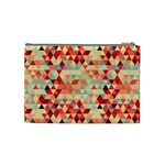 Modern Hipster Triangle Pattern Red Blue Beige Cosmetic Bag (Medium)  Back