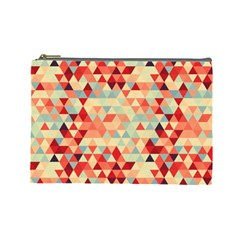 Modern Hipster Triangle Pattern Red Blue Beige Cosmetic Bag (Large)