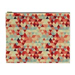 Modern Hipster Triangle Pattern Red Blue Beige Cosmetic Bag (XL) Front