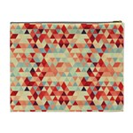 Modern Hipster Triangle Pattern Red Blue Beige Cosmetic Bag (XL) Back