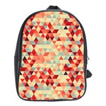 Modern Hipster Triangle Pattern Red Blue Beige School Bags(Large)  Front
