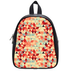 Modern Hipster Triangle Pattern Red Blue Beige School Bags (small)