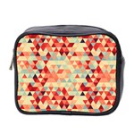 Modern Hipster Triangle Pattern Red Blue Beige Mini Toiletries Bag 2-Side Front
