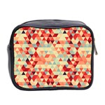 Modern Hipster Triangle Pattern Red Blue Beige Mini Toiletries Bag 2-Side Back