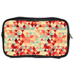 Modern Hipster Triangle Pattern Red Blue Beige Toiletries Bags 2 Side