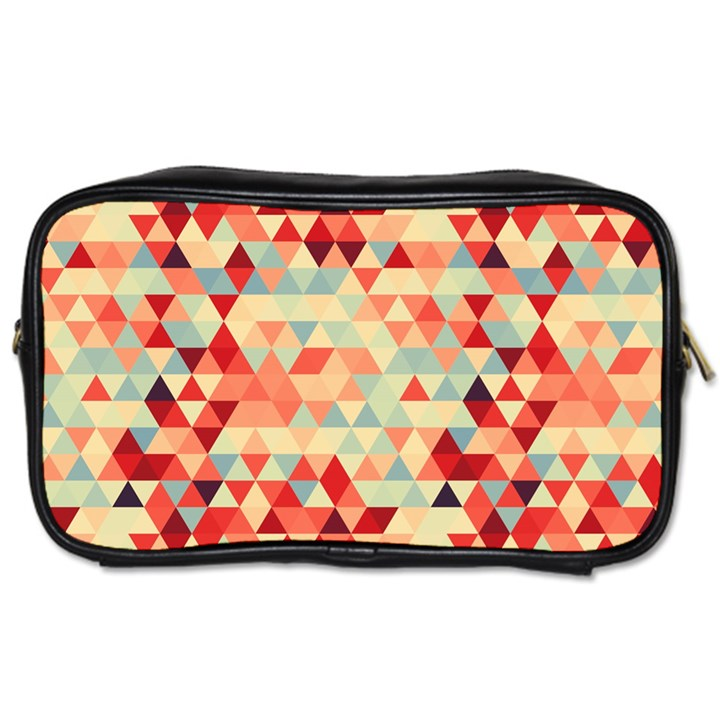 Modern Hipster Triangle Pattern Red Blue Beige Toiletries Bags 2-Side