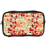 Modern Hipster Triangle Pattern Red Blue Beige Toiletries Bags 2-Side Back