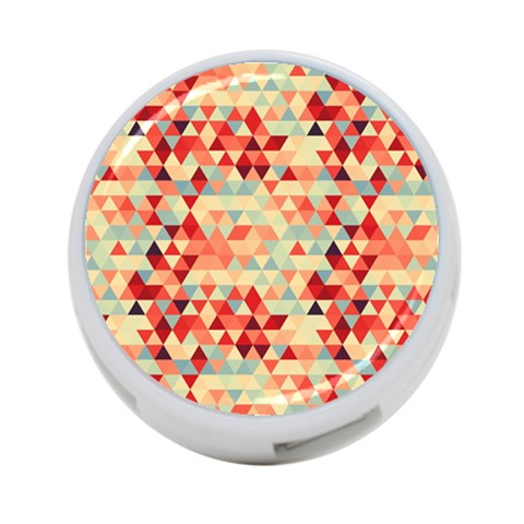 Modern Hipster Triangle Pattern Red Blue Beige 4-Port USB Hub (One Side)