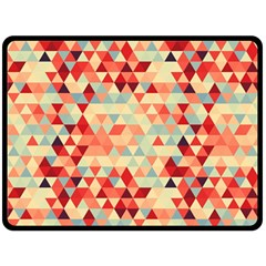 Modern Hipster Triangle Pattern Red Blue Beige Fleece Blanket (Large)