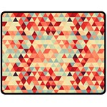Modern Hipster Triangle Pattern Red Blue Beige Fleece Blanket (Medium)  60 x50 Blanket Front
