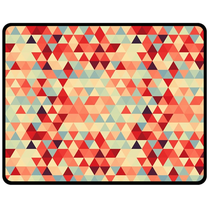 Modern Hipster Triangle Pattern Red Blue Beige Fleece Blanket (Medium)