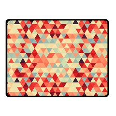 Modern Hipster Triangle Pattern Red Blue Beige Fleece Blanket (Small)