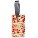 Modern Hipster Triangle Pattern Red Blue Beige Luggage Tags (Two Sides) Front