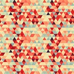 Modern Hipster Triangle Pattern Red Blue Beige Magic Photo Cubes Side 1