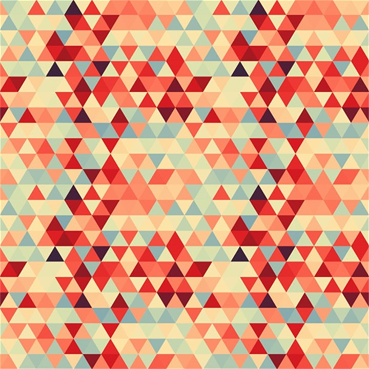 Modern Hipster Triangle Pattern Red Blue Beige Magic Photo Cubes