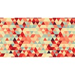 Modern Hipster Triangle Pattern Red Blue Beige Magic Photo Cubes Long Side 3