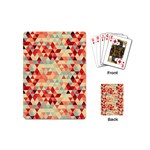 Modern Hipster Triangle Pattern Red Blue Beige Playing Cards (Mini)  Back